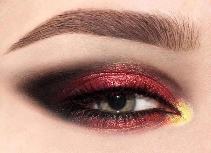 trucco metallizzato nero e rosso