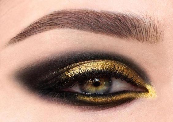 trucco occhi oro