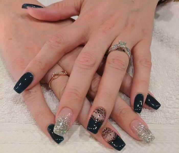 Nail art Capodanno 2018 unghie lunghe