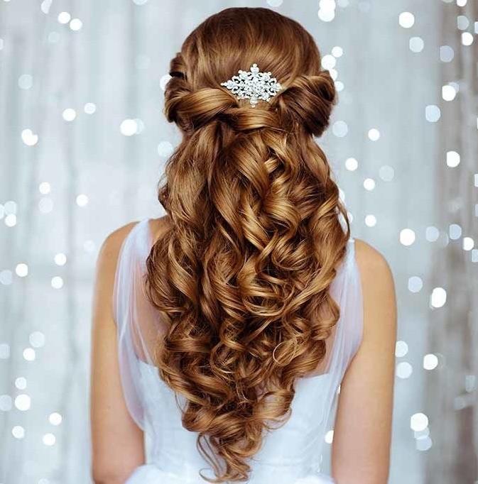 capelli lunghi sposa semiraccolto mosso 2018