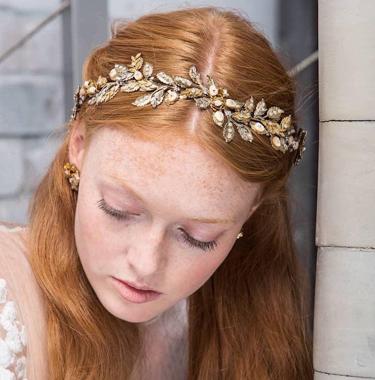 cerchietto gioiello oro capelli sposa 2018