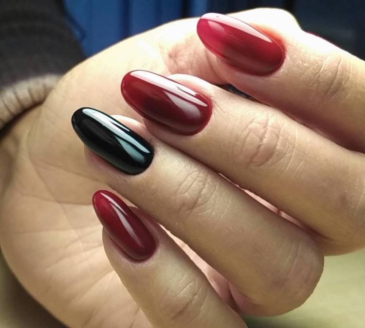 manicure gel unghie a mandorla rosse nere 2018