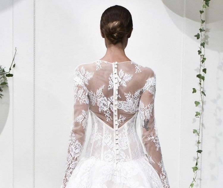 monique-lhuillier-abito sposa e acconciatura inverno 2018