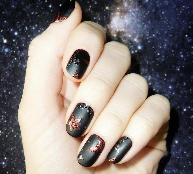 nail arrt natale nere opache bronzo