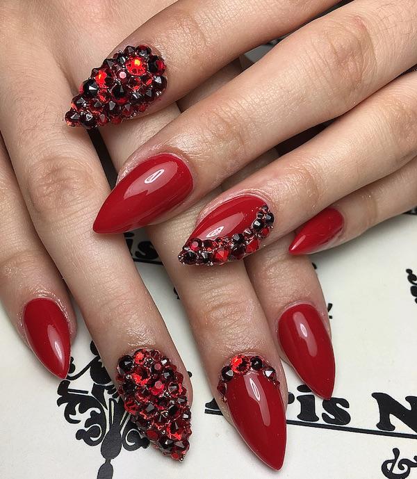 nail art unghie a punta gioiello inverno 2018