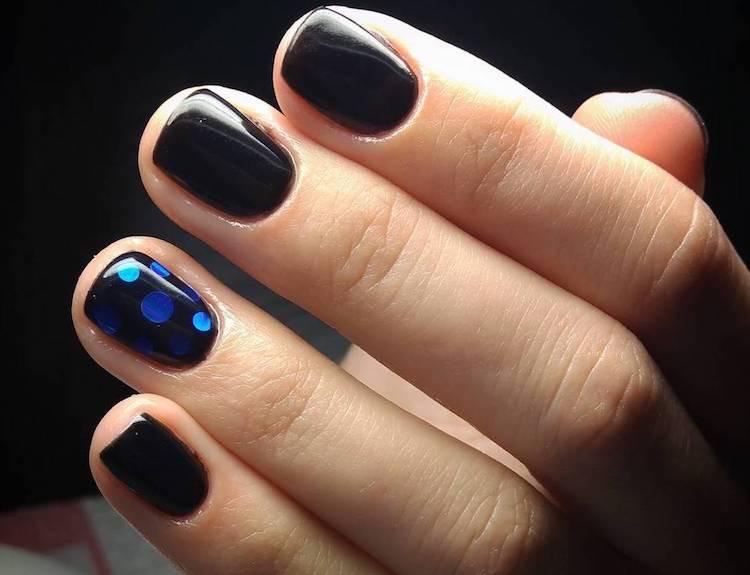 nail art unghie corte nere inverno 2017 -2018