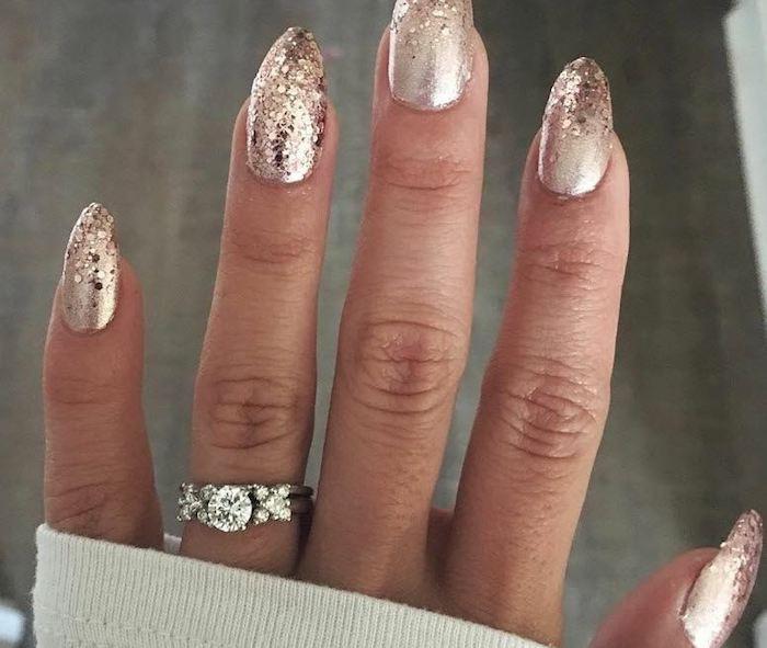 unghie capodanno glitter nails art semplice