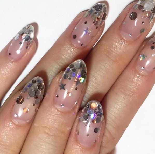 unghie nail art glitter capodanno 2018