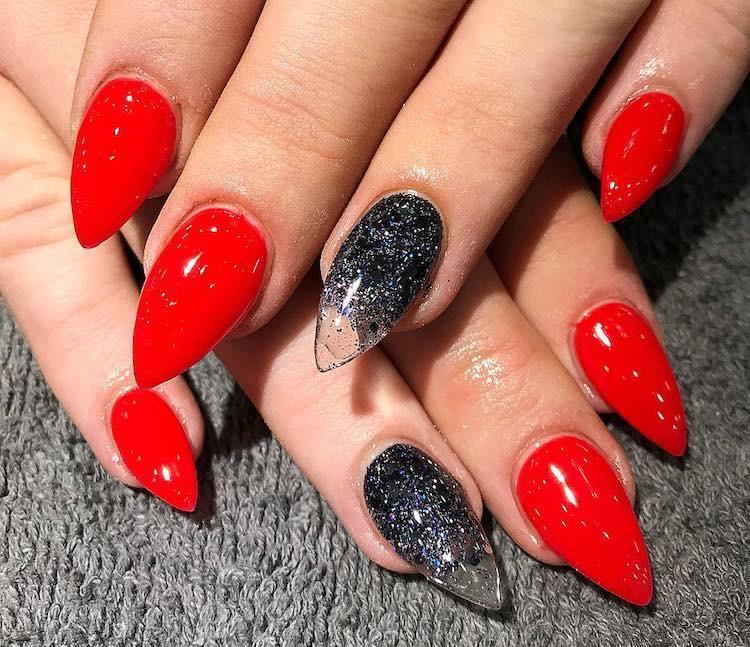 unghie ombre rosse nere glitter inverno 2018 instagram