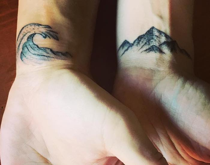 acqua e terra tatuaggio coppia