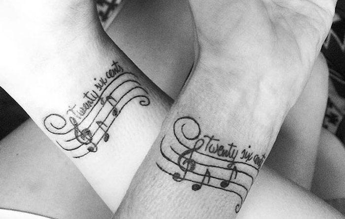 tatuaggi coppia note musicali
