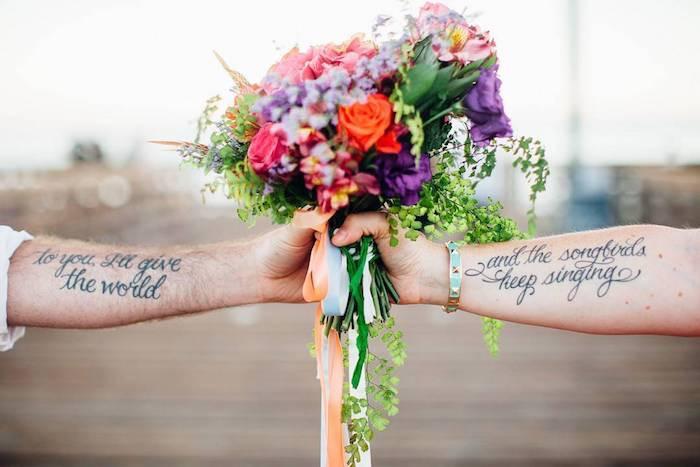tatuaggio matrimoniale frasi avambraccio