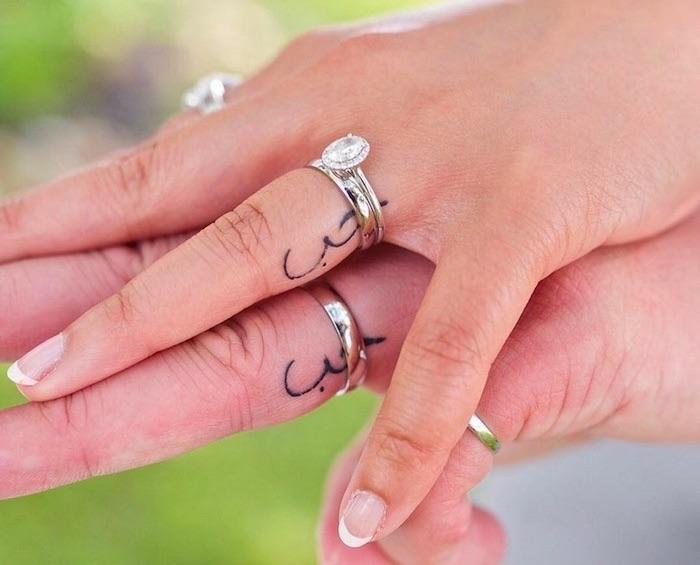 tatuaggio piccolo coppia matrimonio