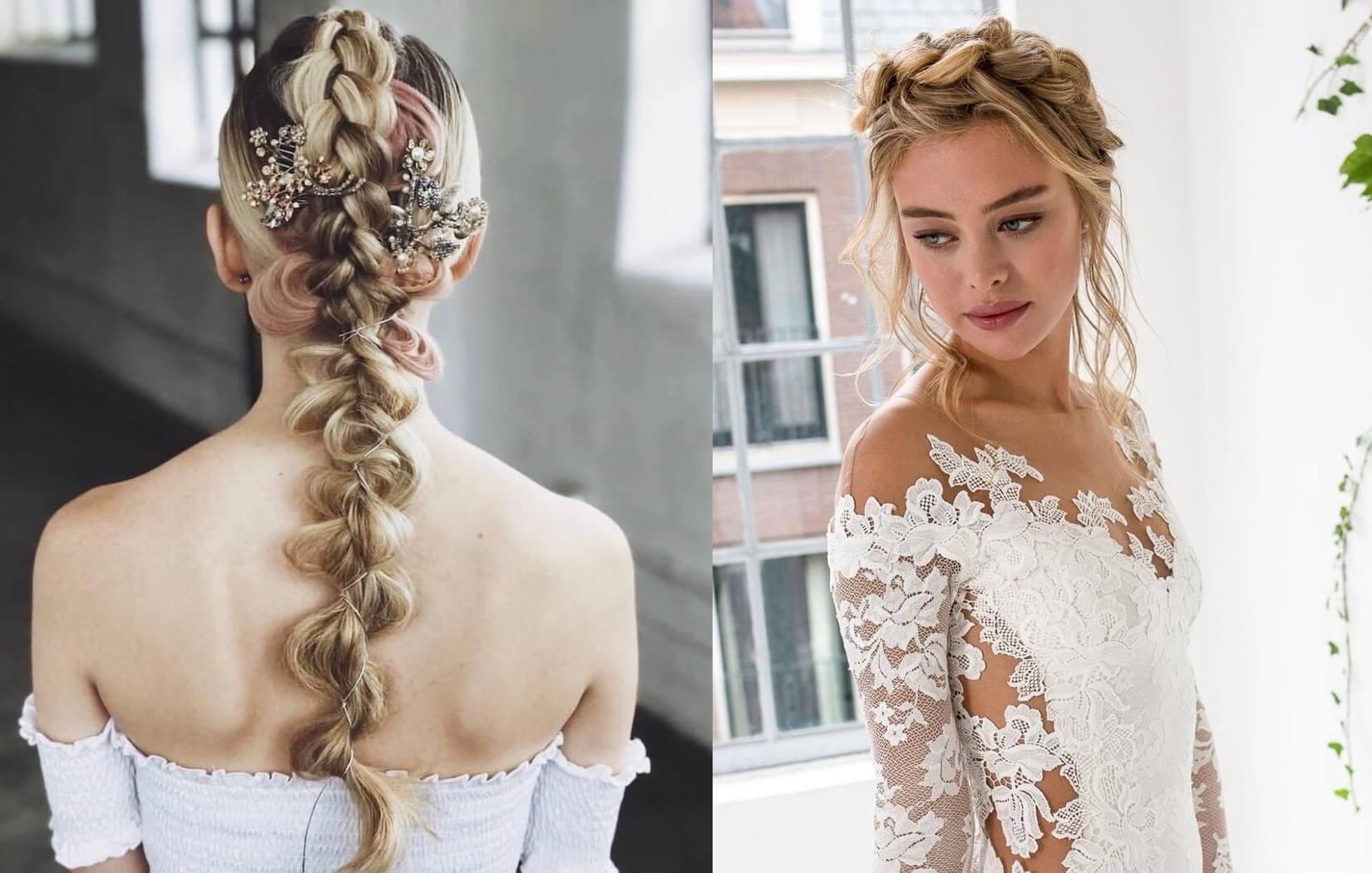 Capelli sposa 2018  23 modi per portare le trecce. Foto e idee 4b215385d3fe