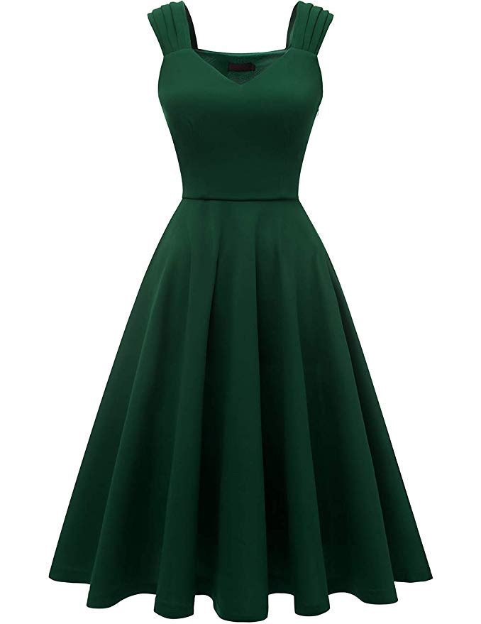 abito vintage verde amazon
